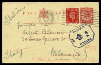 Lot 20010:1940 use of 1d red KGV postcard, H&G #47, uprated with 1d red KGVI, cancelled with 'LYMINGTON/6PM/7JNE/1940/HANTS' (A1-) machine, addressed to Milan but actually held by censors & returned after Italian declaration of war on 10/6/1940, bearing octagonal 'PASSED/BY/CENSOR/[crown]/P.36' (A1) in dark blue with London machine of 18JNE1940 applied upon return.