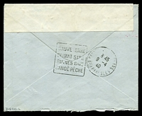 Lot 3586 [2 of 2]:1940 use of stampless envelope, cancelled with double-circle 'FIELD [POST] OFFICE/A/3AP/40/26' (B1), also bearing '[crown]/PASSED BY