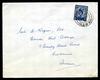 Lot 23671:1969 use of 5d royal blue, cancelled with double-circle 'PORT ST MARY/1230PM/27OC/69/ISLE OF MAN' (B1), on House of Keys cover to Sussex.