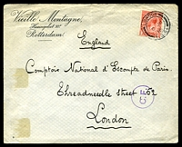 Lot 25488:1916 use of GB 1d red KGV, cancelled with double-circle 'LONDON/6JU/16/F.G.64' (A1-), on large Vieille Montagne, Rotterdam undercover cover addressed to London, bearing circle 'C.F.' (A1) Belgian censor handstamp in purple, some hinge fragments, mild vertical fold & a touch of toning on reverse.