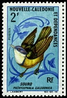 Lot 4398 [2 of 2]:1966-70 Birds SG #405 2f Pachycephala caledonica pair, with Small white flaw behind birds right foot, tiny crease at base.