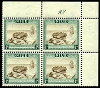 Lot 4035:1950 Pictorials SG #114 1d brown & blue-green, in TRC block of 4 with '10/-' marginal inscription in blue-green.