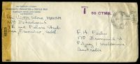 "Lot 28965:1943 use of long San Francisco Citizens' Hospitality Committee for Service Men envelope endorsed ""Free"", cancelled with poor San Francisco duplex of DEC28 1943, from APO Detachment, 9th & Falsom Streets, San Francisco to Fitzroy, Melbourne sealed with 'EXAMINED BY/61115' tape, bearing 'T 50 CTMS.' (A1) in purple, extensive mild creasing."