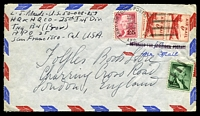 Lot 4274:1956 use of 6c red airmail pair, 2c carmine Jefferson & 1c green on green Washington, cancelled with 'ARMY-AIR FORCE POSTAL SERVICE/20JUL/1956/25/A.P.O.' (A1) Schofield Barracks, Oahu, HI, on air cover to London, also bearing straight-line 'RETURNED FOR ADDITIONAL POSTAGE' (A1-) in mauve, some mild creasing.
