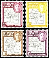 Lot 19377 [2 of 2]:1948 KGVI & Map SG #G9-G16 set of 8, map thin & clear, Cat £88, excludes 1949 2½d black & deep-blue.