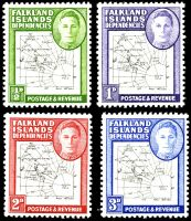 Lot 19377 [1 of 2]:1948 KGVI & Map SG #G9-G16 set of 8, map thin & clear, Cat £88, excludes 1949 2½d black & deep-blue.