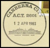 Lot 5634 [2 of 2]:Canberra City: - pictorial 'CANBERRA CITY/A.C.T. 2601/12APR1983/...' (Last Day) on Philas PO Closure cover.  Renamed from Ainslie PO c.1929; closed 12/4/1983.