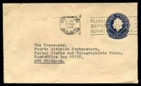 Lot 4247:1959-60 5d Dark Blue QEII Small Die BW #EP58 on buff, cancelled with Bundaberg machine of 11FEB1960, to Postal Union, Brisbane, some light creasing to left edge.