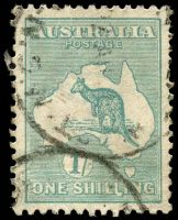 Lot 1024:1/- Emerald Die IIB BW #33(4)h [4L11] 'LI' of 'SHILLING' deformed, Cat $150, couple of short perfs, aged.