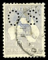 Lot 184:6d Blue Die II BW #19ba perf 'OS', Cat $15, largely faded towards grey.