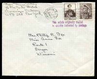 Lot 21767:1954 2r brown & 50r brown, cancelled with 'WASHINGTON, D.C.16/DEC7/12PM/1954' (A1) machine on plain cover to Oregon, Wisconsin with 'This article originally mailed/in country indicated by postage' (A1) in purple.