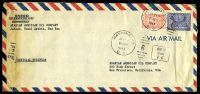 Lot 4413:1945 use of 3g blue & ⅛g red, cancelled with 'WASHINGTON/JUN14/830PM/1945/D.C. - 6' (A1) duplex, on long air cover from Arabian American Oil, Jeddah to AAO San Francisco, California, with boxed 'AM-M/from/FC' (A1) & '3139' censorship handstamp at left, left edge heavily discoloured from missing censor tape.