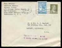 Lot 29092:1947 use of 20k olive & 2k light blue, cancelled with light 'WASHINGTON, D.C.3/JAN??/10PM/1947' (B1) machine on plain cover to Oakland, California, with 'This article originally mailed/in country indicated by po