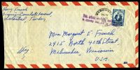 Lot 26165:1953 use of 20k blue, cancelled with 'WASHINGTON/JUL31/1130PM/1953/D.C. - 6' (B2) duplex on plain air cover to Milwaukee, Wisconsin, with 'This article originally mailed/in country indicated by postage' (B1) in purple, trimmed at left.
