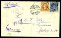 Lot 11704:1908 use of 3d orange-brown & 2½d blue, wmk Crown/A, cancelled with 'REGISTERED/1145A29AP08/MELBOURNE' (A1) on plain cover to Berlin, with circular 'R' (B2) & backstamped with Berlin arrival of 30.5.08, flap bears oval 'MAX HYMAN/9 QUEEN'S WALK/*MELBOURNE*' (A1).