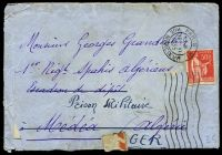 Lot 22251:1935 use of 50c red sower, cancelled with 'PARIS XI/1530/19VI/1935/RUE MERCOEUR', on plain cover to Medea, Algeria, redirected to Military Prison, Algeria, with letter in French, several small closed tears & generalised creasing.