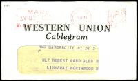 Lot 23360:1943 use of Western Union Cablegram window envelope, cancelled with 'MARK/your Cables/via/WESTERN UNION - LONDON/6IV43/E?2 - GREAT BRITAIN/[crown/ER]/POST PAID/N 2½D 1' (B1) meter in red, with Cablegram included, Cablegram bears lozenge 'PASSED/BY/CENSOR/[crown]/No./2891' (B1) in purple & circled 'E/47' (A1) in purple, couple of closed tears at top edge of envelope.