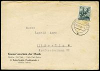 Lot 22781:1948 use of 16pf green, cancelled with double-circle 'BERLIN STEGLITZ1/24.11.48-9/b' (B1), on Konservatorium der Musik cover, small closed tear from opening, odd toned spot.