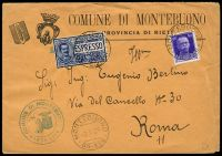 Lot 4055:1929 use of 1.25l blue express & 50c purple, cancelled with double-circle 'MONTEBUONO/2.6.29/55-426' on COMMUNE DI MONTEBUONO cover, bearing double-circle 'COMUNE DI MONTEBUONO