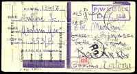 Lot 22421:1943 use of captured & trimmed postcard, cancelled with double-circle 'P.O.W./19NOV43/E.A.C.