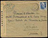 Lot 22265:1945 use of 4f blue, cancelled with 'ROUEN AR