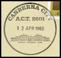 Lot 5469 [2 of 2]:Canberra City: - pictorial 'CANBERRA CITY/A.C.T. 2601/12APR1983/...' (Last Day) on Philas PO Closure cover.  Renamed from Ainslie PO c.1929; closed 12/4/1983.
