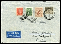 Lot 1000:1939 use of 9d platypus, 6d kookaburra, 4d Koala & 2d scarlet KGVI Die II, cancelled with poor Ship Mail Room Melbourne for AP39, on air cover to Berlin, slight creasing around edges.