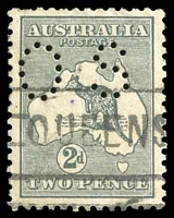 Lot 792:2d Grey Die I BW #7ba perf 'OS', Cat $10, pinhole above roo's head.
