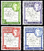 Lot 3422 [1 of 2]:1948 KGVI & Map SG #G9-G16 set of 8, map thin & clear, Cat £88, excludes 1949 2½d black & deep-blue.
