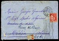 Lot 18854:1935 use of 50c red sower, cancelled with 'PARIS XI/1530/19VI/1935/RUE MERCOEUR', on plain cover to Medea, Algeria, redirected to Military Prison, Algeria, with letter in French, several small closed tears & generalised creasing.
