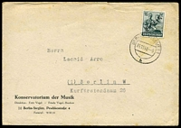 Lot 21922:1948 use of 16pf green, cancelled with double-circle 'BERLIN STEGLITZ1/24.11.48-9/b' (B1), on Konservatorium der Musik cover, small closed tear from opening, odd toned spot.