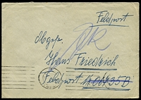 "Lot 4088:1943 use of stampless envelope endorsed ""Feldpost"", cancelled with Vienna machine on 15.2.43, to Feldpost 06735B, 5th Battalion Artillery Regt. 44 Inf Div, 6th Army, Army Group Don, with mss ""ZR"" Zuruck & Returned to sender. [Unit surrounded by Russian forces in Siege of Stalingrad and lost by 12 Jan 1943]"