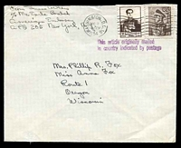 Lot 23833:1954 2r brown & 50r brown, cancelled with 'WASHINGTON, D.C.16/DEC7/12PM/1954' (A1) machine on plain cover to Oregon, Wisconsin with 'This article originally mailed/in country indicated by postage' (A1) in purple.