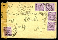 Lot 23948:1944 use of 50c violet Allied Military Govt x5, cancelled with double-circle 'MARSALA/18.9.44.16/ARRIVI E PARTENZE' (B1), on cover to Brooklyn sealed at left with clear 'EXAMINED BY/6251' tape, couple of small closed tears.