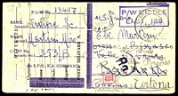 Lot 4350:1943 use of captured & trimmed postcard, cancelled with double-circle 'P.O.W./19NOV43/E.A.C.