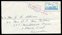 Lot 24345:1952 use of 25p light blue air, cancelled with light 'WASHINGTON, D.C.4/SEP10/9PM/1952 - [tree stump] Remember - Only you can/PREVENT/FOREST FIRES' (A1) machine on plain cover to Ottowa, Ontario with 'This article originally mailed/in country indicated by postage' (A1-) in purple, trimmed at base & left.