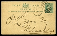 Lot 25006:1892 use of Gibraltar 5c green Postal Card (HG #15) to Gibraltar, cancelled with 'TANGIER/A/MY10/92 - a26' (B1).