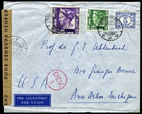 Lot 3968:1941 use of 1g purple, 40c green & 5c blue, cancelled with double-circle 'BATAVIACENTRUM/6.1.41-9/' (B1), on cover to Ann Arbour, Michigan, USA, sealed at left with 'DOOR CENSUUR GEOPEND' tape in black on brown, bearing double-circle 'CENSUUR