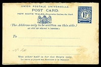 Lot 702:1892 1½d + 1½d Blue on Cream Stock HG #14 toned edges.
