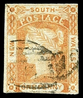 Lot 880:1851-52 Imperf Laureates No Wmk Bluish Wove Paper SG #48 1d red, Cat £120, 3-margins, faded toward orange.