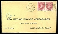 Lot 25971:1951 use of 2d scarlet KGVI pair, cancelled with 'WASHINGTON, D.C.27/JUL25/430PM/1951' (A1) machine, on New Method Finance Corp printed cover, backflap removed.