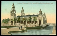 Lot 65:Great Britain - 1908 Franco-British Exhibition: Valentine coloured PPC of 'Palace of Women's Work, Franco-British Exhibition, London, 1908', view with bridge at right.