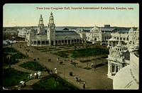 Lot 462 [1 of 2]:Great Britain - 1909 Imperial International Exhibition: Valentine coloured PPC of 'View from Congress Hall, Imperial International Exhibition, London, 1909', franked with 1d red, to Boston, mild corner damage