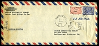 Lot 24144:1945 use of 3g blue & ⅛g red, cancelled with 'WASHINGTON/JUN14/830PM/1945/D.C. - 6' (A1) duplex, on long air cover from Arabian American Oil, Jeddah to AAO San Francisco, California, with boxed 'AM-M/from/FC' (A1) & '3139' censorship handstamp at left, left edge heavily discoloured from missing censor tape.