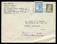 Lot 25889:1947 use of 20k olive & 2k light blue, cancelled with light 'WASHINGTON, D.C.3/JAN??/10PM/1947' (B1) machine on plain cover to Oakland, California, with 'This article originally mailed/in country indicated by po
