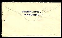 Lot 1925 [1 of 2]:1900s 1d rose x2, cancelled with indistinct cds & pen on backflap printed 'ORIENTAL HOTEL/MELBOURNE' cover to Hobart, Tas, filing hole, opened-out with uneven tear along base of reverse.