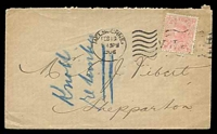 Lot 9978 [1 of 2]:1906 use of 1d pink, cancelled with 'MELBOURNE/FEB16/545PM/1906 - VICTORIA' machine on plain cover, backstamped with unframed 'SHEPPARTON/FE20/06/VICTORIA' (B1).
