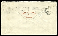Lot 11501 [2 of 2]:1907 use of 2d violet x2, cancelled with Melbourne machine of Sep 13 1907, on backflap printed 'UNION CLUB HOTEL./COLLINS STREET/MELBOURNE' cover to the Commercial Bank of Tasmania, filing hole.