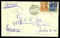 Lot 10345:1908 use of 3d orange-brown & 2½d blue, wmk Crown/A, cancelled with 'REGISTERED/1145A29AP08/MELBOURNE' (A1) on plain cover to Berlin, with circular 'R' (B2) & backstamped with Berlin arrival of 30.5.08, flap bears oval 'MAX HYMAN/9 QUEEN'S WALK/*MELBOURNE*' (A1).