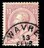 Lot 3705:1884-91 King Leopold II SG #71a 10c carmine-rose/yellowish, Cat £29.